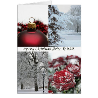 Sister & Wife Christmas Red Winter collage Greeting Card