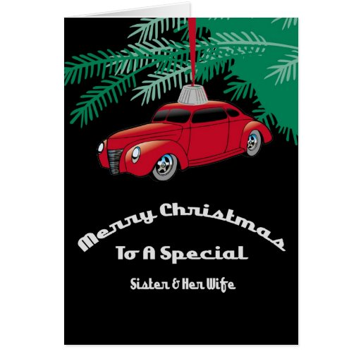 Sister & Wife Red Hotrod Christmas Card