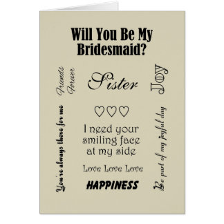 Sister, Will You Be My Bridesmaid? Beige Greeting Card