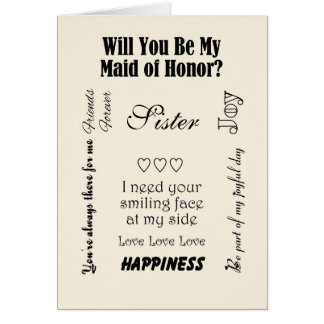 Sister, Will You Be My Maid of Honor? Ivory Card