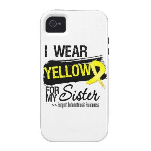 Sister Yellow Ribbon Endometriosis Case-Mate iPhone 4 Covers
