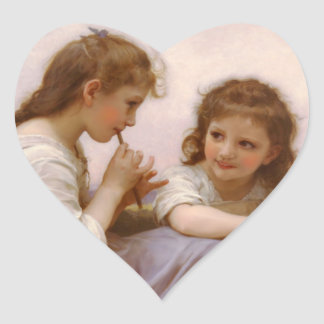 Sisters and Flute Music by Bouguereau Heart Sticker