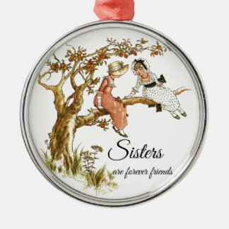 Sisters are forever friends Two Vintage Girls Christmas Ornament
