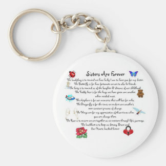 Sisters Are Forever Poem Basic Round Button Key Ring