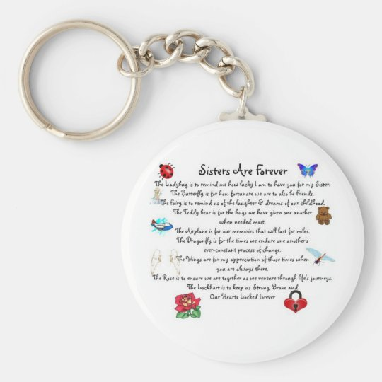 Sisters Are Forever Poem Basic Round Button Key
