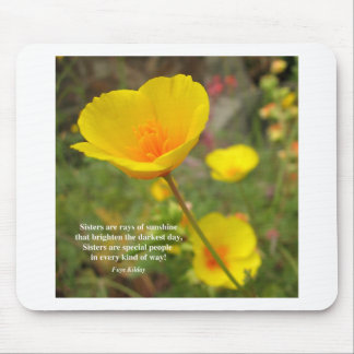 Sisters Are Special Poem Yellow Poppy Mouse Pads