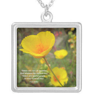 Sisters Are Special Poem Yellow Poppy Square Pendant Necklace