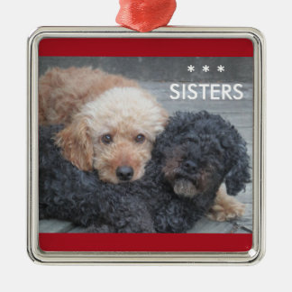 Sisters - Blonde & Brunette Silver-Colored Square Decoration