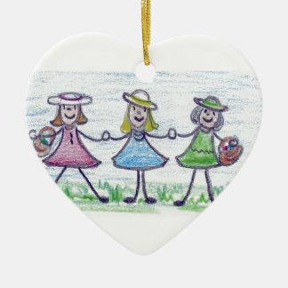 Sisters Ceramic Heart Decoration