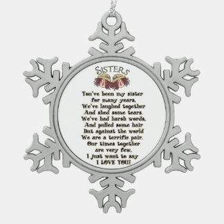 Sisters Christmas Holiday Poem Ornament