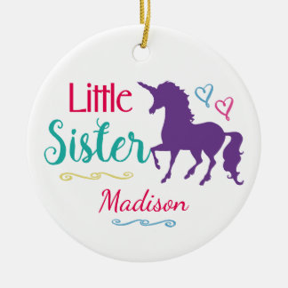 Sisters Colorful Unicorn Little Sister Christmas Christmas Ornament