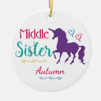Sisters Colorful Unicorn Middle Sister Christmas Christmas Ornament