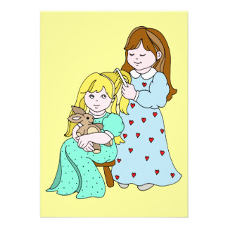 Sisters Combing Hair Custom Invite