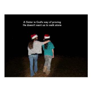 Sisters don't walk alone postcard