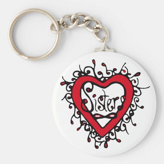 sisters eternal basic round button key ring