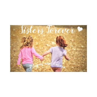 Sisters Forever Photo Template Wrapped Canvas Art
