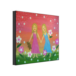 Sisters & Friends - 16x20 Girls Kids Wall Art Canvas Prints