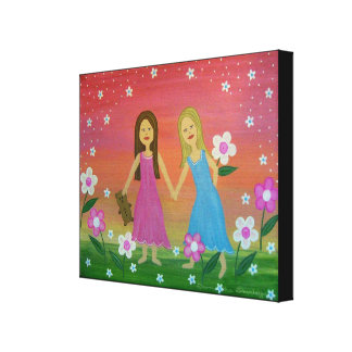 Sisters & Friends - 16x20 Girls Kids Wall Art Canvas Print