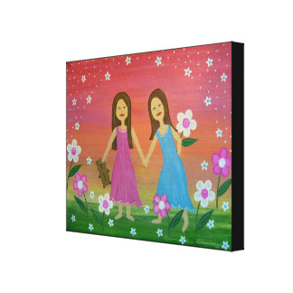 Sisters & Friends - 16x20 Girls Kids Wall Art Stretched Canvas Prints