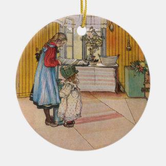 Sisters - Koket av Carl Larsson Christmas Ornament