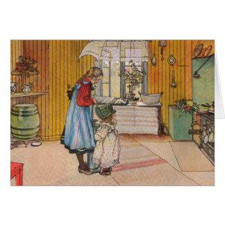 Sisters - Koket av Carl Larsson Greeting Card