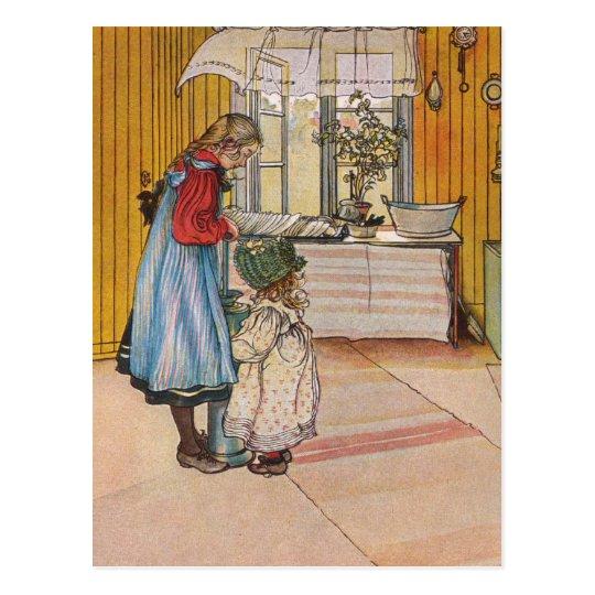 Sisters - Koket av Carl Larsson Postcard