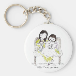 Sisters never grow apart basic round button key ring