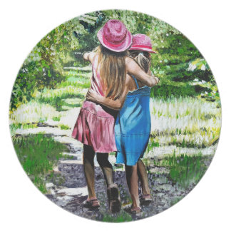 Sisters Oil Painting by Kate Marr Plate