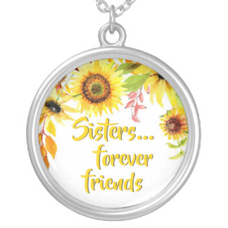 Sisters Quote | Forever Friends Sunflowers Silver Plated Necklace