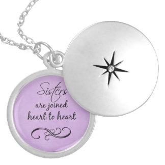 Sisters Quote Heart to Heart Round Locket Necklace