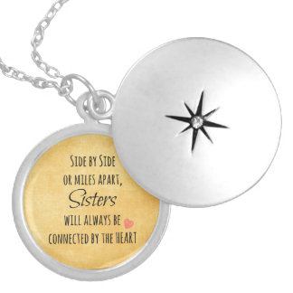 Sisters Quote Locket Necklace