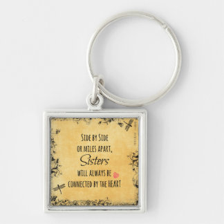 Sisters Quote Silver-Colored Square Key Ring