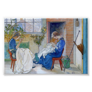 Sisters Sewing by the Fireplace Art Photo