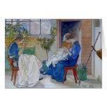 Sisters Sewing by the Fireplace Greeting Card