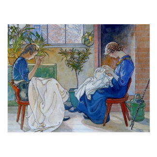 Sisters Sewing by the Fireplace Postcard