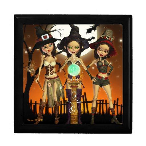 Sisters Three Witch Tile Jewelry Box Keepsake