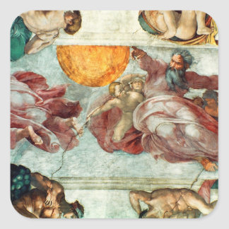 Sistine Chapel Ceiling 3 Square Stickers