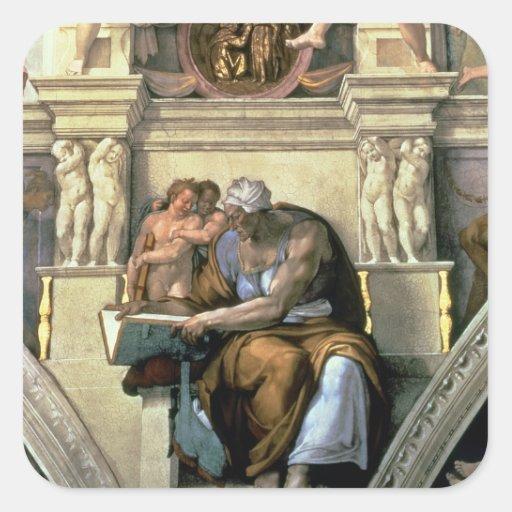 Sistine Chapel Ceiling: Cumaean Sibyl, 1510 Square Sticker
