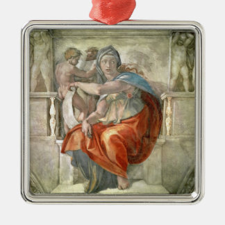 Sistine Chapel Ceiling: Delphic Sibyl Silver-Colored Square Decoration