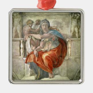 Sistine Chapel Ceiling: Delphic Sibyl Silver-Colored Square Decoration
