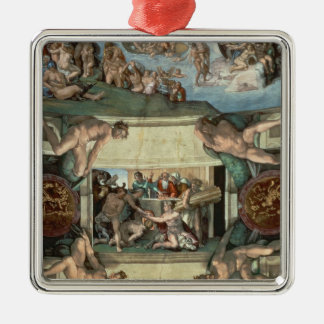 Sistine Chapel Ceiling Silver-Colored Square Decoration