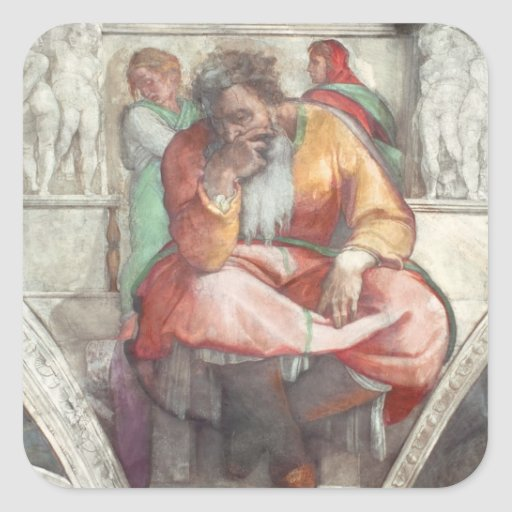Sistine Chapel Ceiling: The Prophet Jeremiah Square Sticker