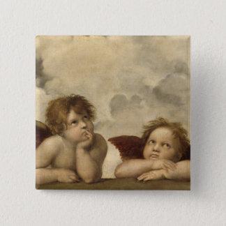 Sistine Madonna Angels by Raphael 15 Cm Square Badge