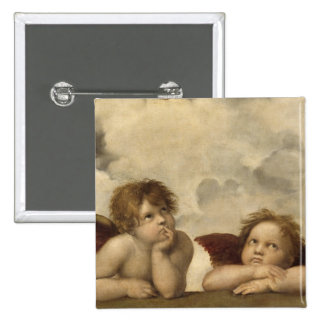 Sistine Madonna Angels by Raphael 15 Cm Square Badge