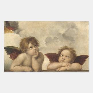 Sistine Madonna Angels by Raphael Rectangular Sticker