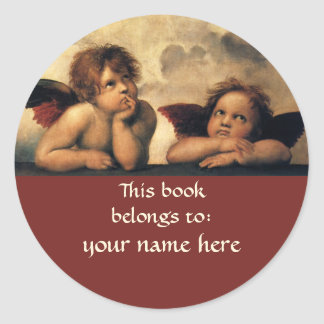 Sistine Madonna Angels by Raphael, Renaissance Art Classic Round Sticker