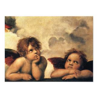 Sistine Madonna Angels by Raphael Wedding 17 Cm X 22 Cm Invitation Card