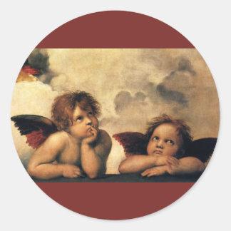 Sistine Madonna, Angels detail by Raphael Classic Round Sticker