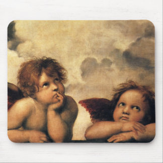 Sistine Madonna, Angels detail by Raphael Mouse Mat
