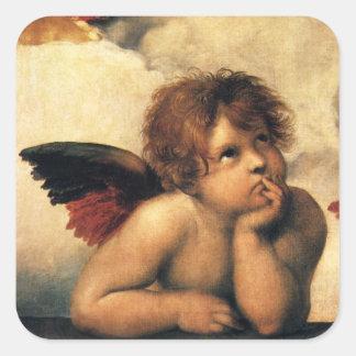 Sistine Madonna, Angels detail by Raphael Square Sticker